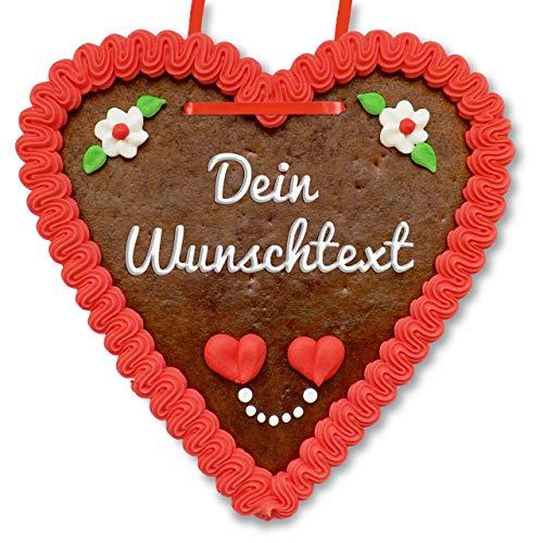 Lebkuchenherz 21 x 22cm individuell mit Text nach Wunsch | Farbe: rot | tolle Geschenkidee | LEBKUCHEN-WELT