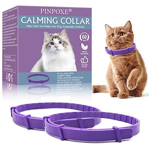 PINPOXE Beruhigendes Halsband, Beruhigungshalsband für Katzen, Katzenhalsband zur Beruhigung von Angst und Aggression, Anti-Angst-Halsband mit Einstellbarer Größe, lindert Angstzustände, 2 Pcs