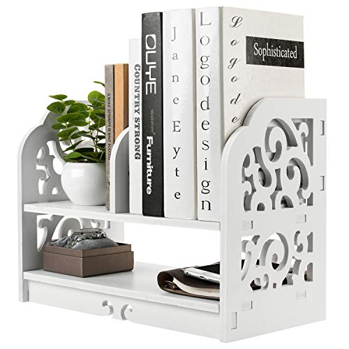 MyGift White Openwork Freestanding Book Shelf/Desk Top Organization Caddy/Stationary Storage