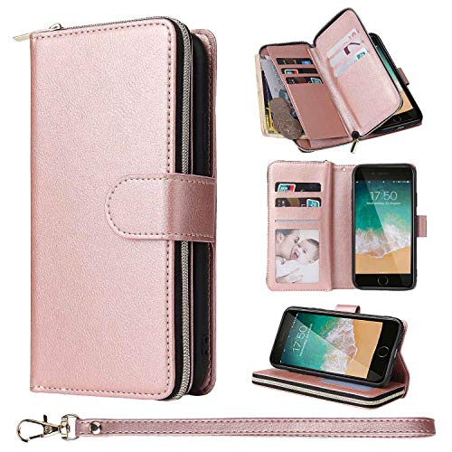 ZCDAYE Wallet Case for iPhone 7 iPhone 8 iPhone SE 2020,Premium[Magnetic Closure][Zipper Pocket] Folio PU Leather Flip Case Cover with 9 Card Slots Kickstand for iPhone 7/8/SE 2020 4.7'-Rose Gold