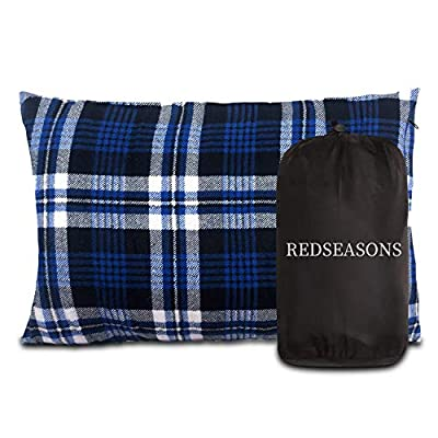 REDSEASONS Small Camping Pillow Lightweight and Compressible, Flannel Travel Pillow,Removable Cover with Storage Bag