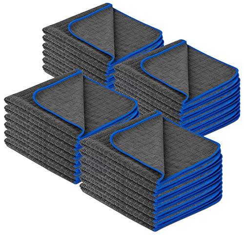 Carbigo® Profi Mikrofasertücher mit 380 GSM – Extrem saugstark & lackschonend dank weicher Mikrofaser – Fusselfreie Poliertücher zur Reinigung von Auto und Motorrad – Mikrofasertücher Auto 40x40cm(24)