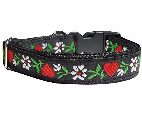 Halsband Hund Blumen Herzen Bayrisch Alpen Trachtenlook Nylon schwarz 30 - 40 cm x 2 cm