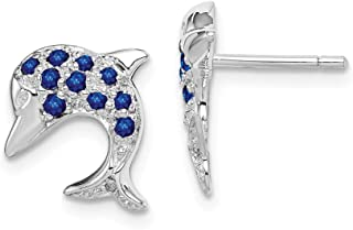 925 Sterling Silver Sapphire Diamond Dolphin Post Stud Earrings Animal Sea Life Fine Jewelry Gifts For Women For Her