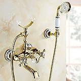 WTCHI Dusch Badewannenarmaturen Luxus Gold Messing Bad Wasserhahn Mischbatterie Wandmontage