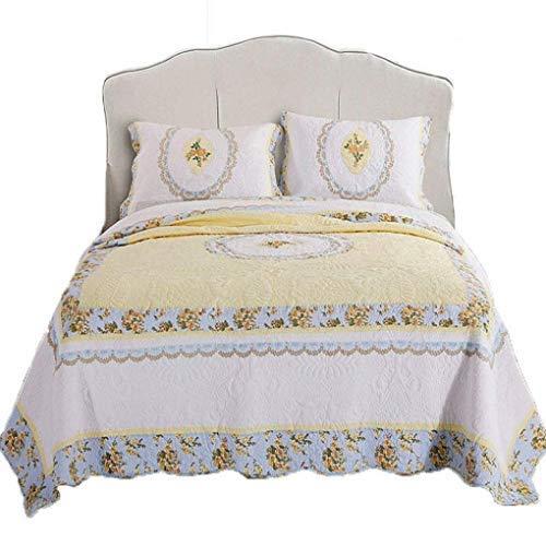 ETDWA 3 Piezas 100% algodón Coverlet Elegante Jacquard Reversible Colcha con Fundas de Almohada Manta de Cama Acolchada Patchwork, 250 * 280