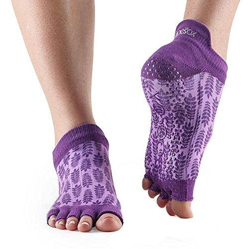 ToeSox Damen Low Rise Half Toe Grip Anti-Rutsch für Ballett, Yoga, Pilates, Barre Toe Socken, Damen, Efeu, Small