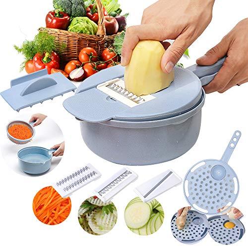 RainBabe 9 in 1 Gemüseschneider Multifunktions Küchenhelfer Eiertrenner Mandoline Reibe Hobel Zerkleinerer für Obst Gemüse Zwiebel Kartoffel