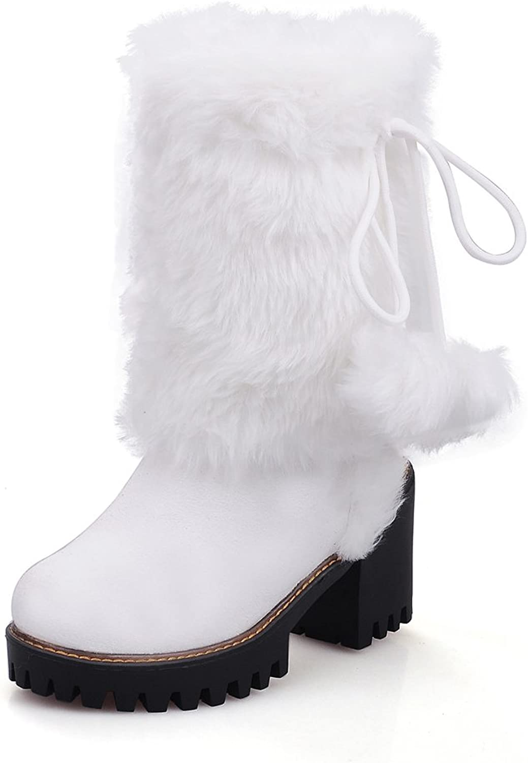 Lucksender Womens Round Toe Faux Fur Bowkont Mid-calf Snow Boots