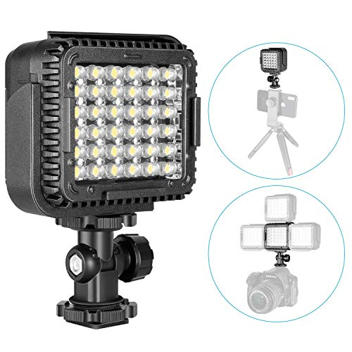 Neewer Ultra Bright Mini LED Video Light - 36 Dimmable High Power LED Panel Video Light Compatible with DJI Ronin-S OSMO Mobile 2 Zhiyun WEEBILL Smooth 4 Gimbal Canon Nikon Sony DSLR Cameras etc