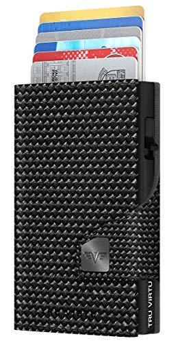 TRU VIRTU CLICK & SLIDE Portafoglio Pelle (Diagonal Carbon Black)