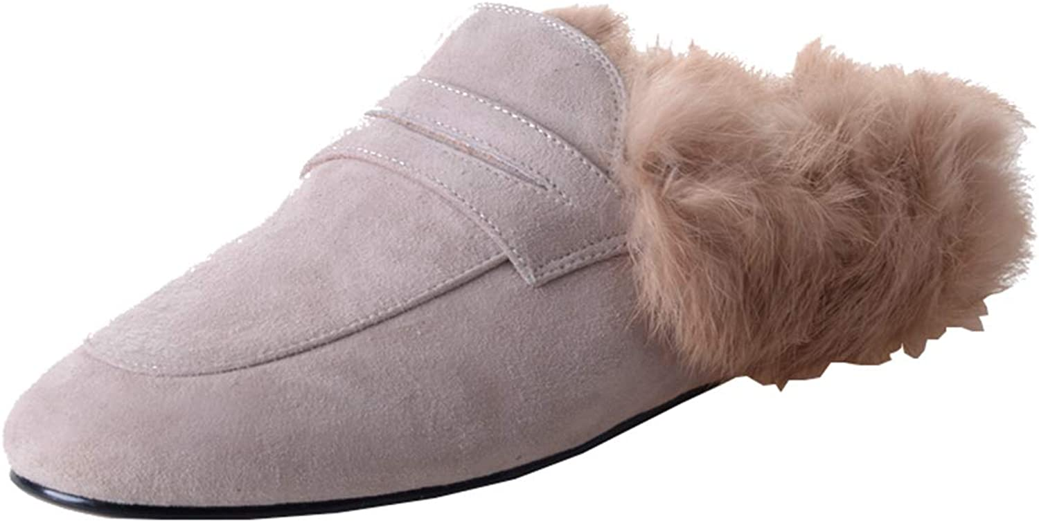 Artfaerie Womens Flats Slingback Mules Slippers with Faux Fur Backless Slip On Loafers