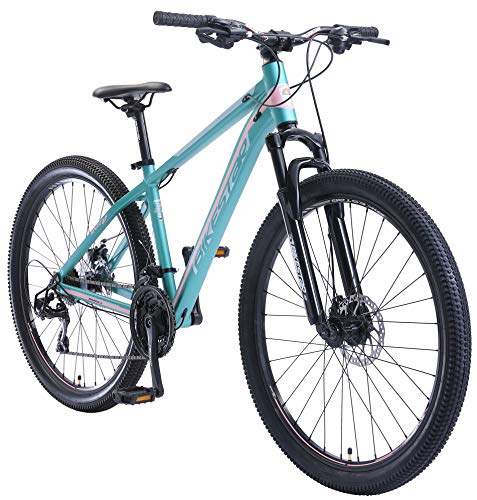BIKESTAR Hardtail Aluminium Mountainbike Shimano 21 Gang Schaltung, Scheibenbremse 27.5 Zoll Reifen | 16 Zoll Rahmen Alu MTB | Türkis Rosa
