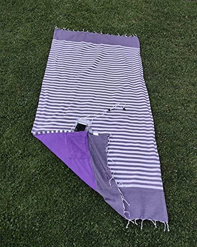 Toalla Playa Pareo Flecos Incluye Bolsa estanca Impermeable móvil para Colgar. Dos Caras algodón y Rizo Secado rápido Unisex 180 x 90 cm Rayas moradas. Toallas baño Grandes.