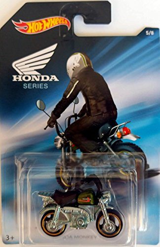 Hot Wheels - Honda Series - Honda Monkey Z50 Mini Bike - Chrome with Black seat and green tank - Unique Art Card!
