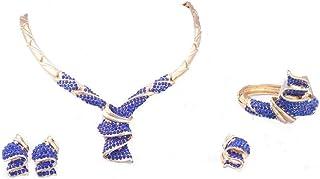 Set di gioielli in oro placcato in oro / argento con brillanti in cristallo collana orecchini bracciale