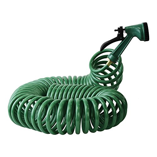 EVELYN LIVING 15 Metre Coil 50ft Retractable Garden Hose Pipe With 5 Pattern Water Spray Gun Nozzle Outdoor Hosepipe