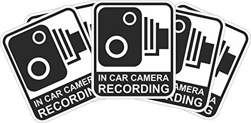 INDIGOS UG - Aufkleber/Sticker - schwarz - Warnung Sicherheit - Kamera Dash Cam Aufnahme Dashcam - 29x25 mm - 5 Stück - JDM/Die Cut - CCTV, Auto, Van, Truck, Taxi, Bus