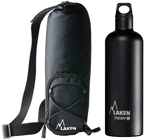 Laken Thermo Futura Trinkflasche Edelstahl Wasserflasche mit Schmale Öffnung, Thermoflasche Isolierflasche, BPA Frei - 750ml, Schwarz + Tasche Thermo-isolierende Umhängetasche 1L