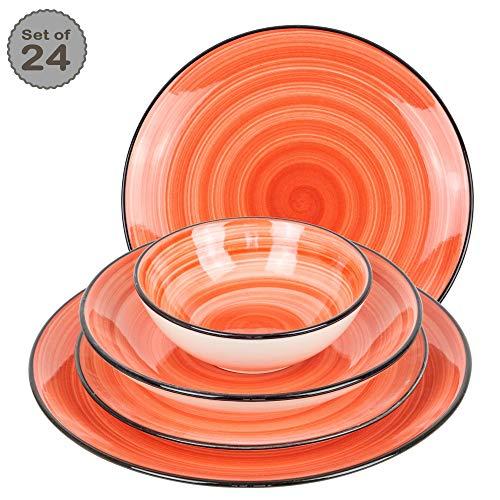 Geschirrset 24-teilig aus Porzellan für 6 Personen - tiefe Suppenteller, flache Essteller, Dessertteller und Schüsseln - Hochwertiges modernes buntes Vintage Tafelservice Kombiservice handbemalt - Rot