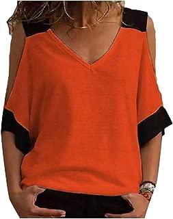 Mogogo Women's Short-Sleeve Summer Stitching V Neck Cold Shoulder T-Shirt