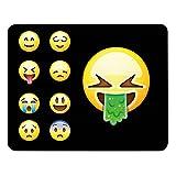 Addies - Tappetino per il mouse, motivo emoji/emoticon, in confezione regalo con base in gomma, 240 mm x 190 mm, tutti i motivi emoji 6