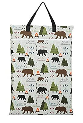 Large Hanging Wet/Dry Cloth Diaper Pail Bag for Reusable Diapers or Laundry