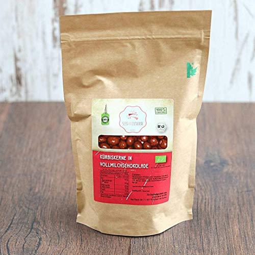 süssundclever.de® Bio Kürbiskerne in Vollmilchschokolade | aus der Steiermark | 500 g | plastikfrei und ökologisch-nachhaltig abgepackt