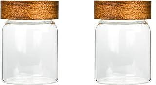 Batchelo Lot de 2 bocaux en verre avec couvercle en bois, réutilisables, empilables, hermétiques, pour graines, sel, poivr...