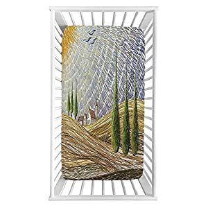 """Italian Fitted Crib Sheet,Van Gogh Style Italian Valley Rural Fields with European Scenery Painting Print Microfiber Silky Soft Toddler Mattress Sheet Fitted,28″x 52″x 8"""",Baby Sheet for Boys Girls"""