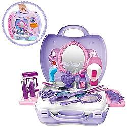 GizmoVine Prinzessin Rollenspiel Schminkset Spielzeug Schminksachen Schönheit Koffer Umhängetasche für Kinder Mädchen