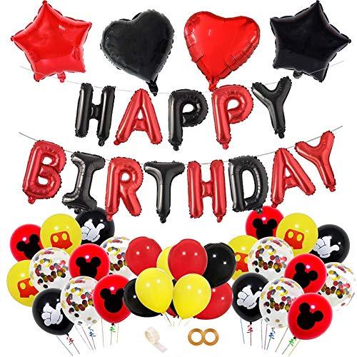 FINEVERNEK Decoración de Fiesta de Cumpleaños de Mickey, Decoraciones de Cumpleaños de Mickey Mouse, Mickey Party Globos Decoraciones, 55 Piezas