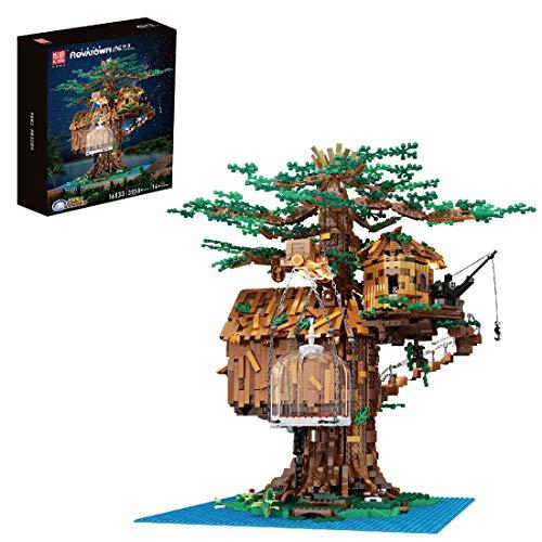 Xshion Tile 3958+Tile - Mattoncini per albero di Natale, con illuminazione, architettura, modulari, Building Mould King 16033, modellismo floreale, compatibile con Lego 21318