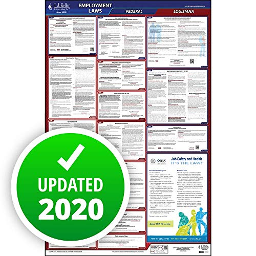 2020 Louisiana State and Federal Labor Law Poster (English, LA State) - OSHA Compliant All-In-One Laminated Poster - Includes FFCRA Poster