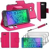 ebestStar - kompatibel mit Samsung Galaxy Alpha Hülle SM-G850F Wallet Case Handyhülle[PU Leder], Kartenfächern, Standfunktion +Mini Stift +3 Schutzfolies, Pink [Phone:132.4x65.5x6.7mm 4.7']