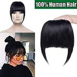 Frange a Clip Naturel - 100% Cheveux Humain Extension a Clip Postiche Femme - #01 Noir Foncé