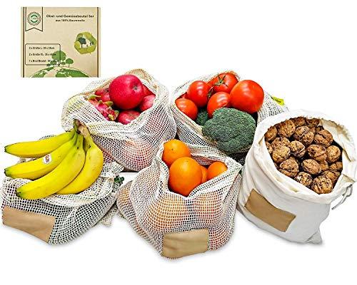 Lyihlou Obst- und Gemüsebeutel Wiederverwendbar 5er übergroße Einkaufstaschen aus 100% Baumwolle 2* XL, 1* L Brotbeutel, 2* L