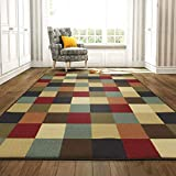 Ottomanson Boxes Ottohome Collection Contemporary Design Modern Area Rug Skid (Non-Slip) Rubber Backing, 5'0' L, Multi-Color, 5'0' X 6'6', Multicolor Checkered