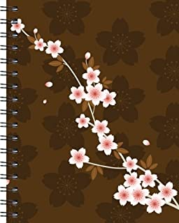 Wire-o Journal - Petals on Brown - Large..( Black wire-o )