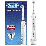 Oral-B Junior Smart Cepillo De Dientes Eléctrico, 1 Mango Blanco Recargable Con Tecnología De Braun, 1 Cabezal De Recambio, Apto Para Niños Mayores De 6 Años