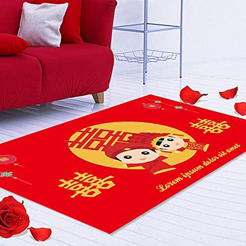 Oukeep Alfombra Roja De Boda Gruesa Impermeable Otomana Dormitorio Manta De Noche Impresión 3D Sala De Estar Manta De Mesa De Centro Entrada Almohadilla De Entrada