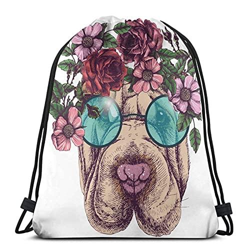 Mochila para mujer, hombre, con cordón, ligero, gimnasio, bolsa de gran tamaño, mochila impermeable, para yoga, compras, Sharpei Roses gafas de sol, cabeza de perro, bohemio, talla única