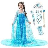 YOSICIL Disfraz de Princesa Elsa Traje Vestido Frozen Niñas Cosplay Elsa Reina de Nieve con Lentejuelas Cumpleaños Navidad Halloween, con Capa Brillantes(Azul)