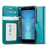 JundD Kompatibel für LG K30 / LG K10 2018 Leder Hülle, [RFID Blocking Standfuß] [Slim Fit] Robust Stoßfest PU Leder Flip Handyhülle Tasche Hülle für LG K30, LG K10 2018 Hülle - [Nicht für LG K10 2017]