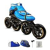 CNMJI Unisex Patines en línea Ajustables para niños, Patines para Exteriores e Interiores Zapatos de Skate Inline Skates/Rollerblade para Principiantes, niños, niñas, Adultos,Azul,32