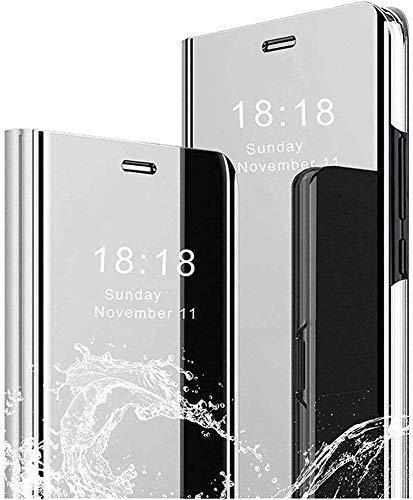 Clear View Standing Cover für das Xiaomi Mi A1, Spiegel Handyhülle Schutzhülle Flip Hülle Schutz Tasche mit Standfunktion 360 Grad Hülle Superdünn PU Handy Schutz. Flip Mirror - Silber