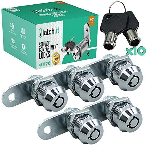 "LATCH.IT 7 8"" RV Storage Locks   5-Pack RV Compartment Locks   Utility Cam Lock   100% Metal RV Locks for Storage Door on Camper or Trailer   RV Cam Locks with 10 Keys by RV Lock Experts!"