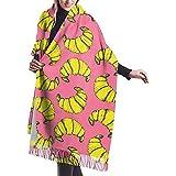 Yuanmeiju Bufanda Croissant Patrón Rosa Acogedor Suave Moda Invierno Cálido Bufanda grande Mantón largo