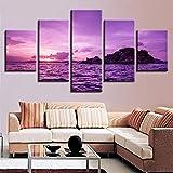 Rudxa Cuadro en Lienzo Purple Wave Seascape Wall Art Paisaje Poster Set Picture Living Room Decor 5 Piezas/Set - sin Marco