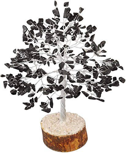 FASHIONZAADI Black Tourmaline Gemstone Money Crystal Tree Feng Shui Bonsai Trees for Good Luck Chakra Stone Healing Crystals Home Office Living Room Décor Spiritual Gift Size -10 Inch (Silver Wire)